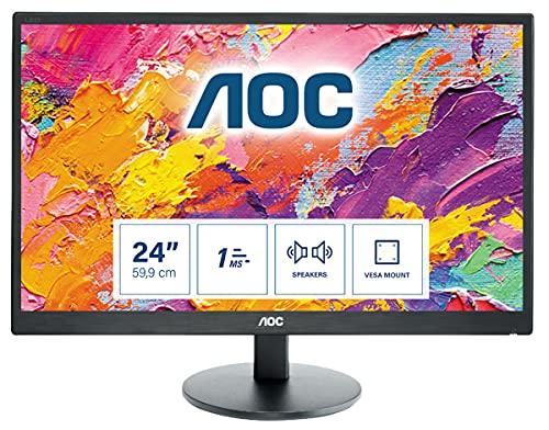 AOC e2470SWH - 24 Zoll FHD Monitor (1920x1080, 60 Hz, VGA, DVI, HDMI) schwarz