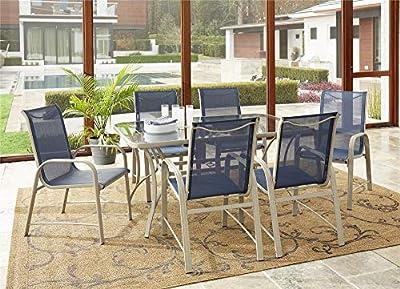 Cosco Outdoor Living 88647BGPE Cosco Outdoor Dining Set, 7 Piece, Navy