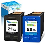 Inkworld Remanufactured 21XL 22XL Ink Cartridge Replacement Used for HP 21 22 Combo Pack Used for OfficeJet 5610 4315 J3680 DeskJet F2210 F4180 F380 F300 F4140 F340 D1455 3940 F335 PSC 1410 Printers