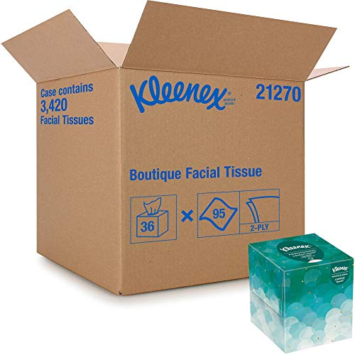 Kleenex Professional Facial Tissue Cube for Business (21270), Upright Face Tissue Box, 36 Boxes/Case, 95 Tissues/Box, 3,420 Tissues/Case