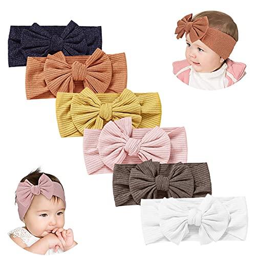 Diademas de bebé, súper suave, elástico, tejido de nailon, para cabeza de bebé, diadema multicolor para bebés recién nacidos, aros para el pelo para niños pequeños, paquete de 6