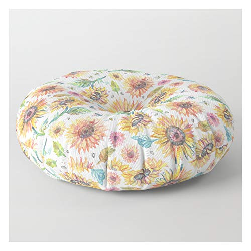 Society6 Floor Pillow - Round - 30' x 30' - Watercolor Sunflowers by Claire Luce Baldwin