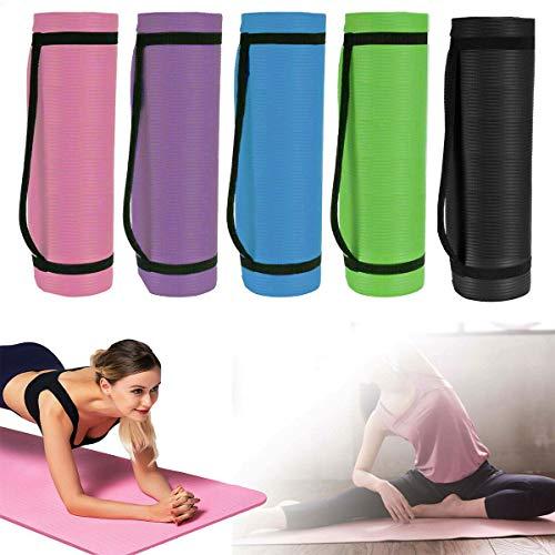 Gymnastikmatte Rutschfest Extradick 1,5cm Yogamatte Matte Pilates Matte 180cm Sportmatte Fitnessmatte mit Tragegurt - Schwarz