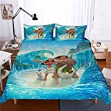 MULMF Moana Duvet Cover Set, 3 Piece Kids/Adult Bed Set Bedding Including 1 Duvet Cover and 2 Pillowcases Queen Size