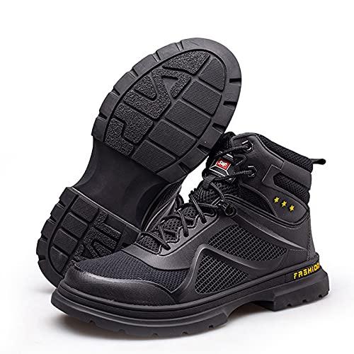HOUJIA Zapatos de Trabajo Zapatos de Seguridad para Hombres,Zapatos con Punta de Acero,Antideslizantes,Zapatos de construcción para la Cocina,Botas de Trabajo,Negro,EU 38-46