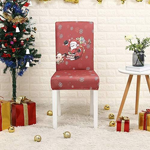 Kerststoelhoes, 2/4/6 Stuks Kerst Stretch Afdrukken Eetkamerstoelhoezen Verwijderbare, wasbare spandex hoezen voor hoge…