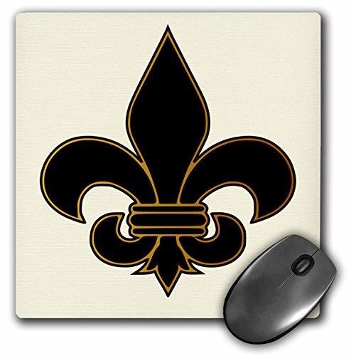 3dRose LLC 8 X 8 X 0.25 Inches Large Black and Gold Fleur De Lis Christian Saints Symbol Mouse Pad (mp_22360_1)