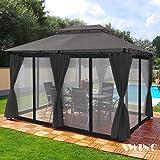 Swing & Harmonie Pavillon 3x4m Minzo   inklusive Seitenwände Gartenpavillon Partyzelt Gartenzelt (mit Moskitonetz, anthrazit)