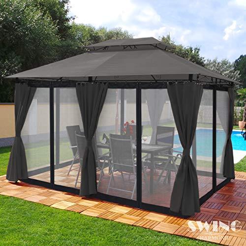 Swing & Harmonie Luxus Pavillon 3x4m Minzo - inklusive Seitenwände Gartenpavillon Partyzelt Gartenzelt (mit Moskitonetz, anthrazit)