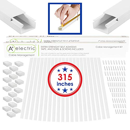 A+ Electric Cord Cover Cable Raceway Cable Concealer Cord Management Kit Wire Cord Hider for 3 Cables Organizer On Wall Paintable Self Adhesive Channel 25x16 mm Total Length 315 Inches (Renewed)