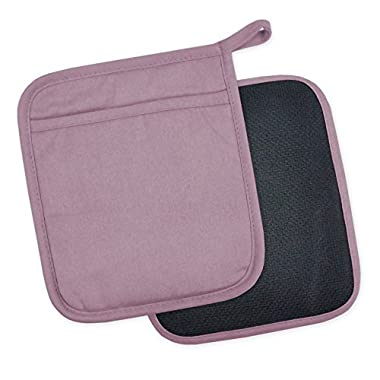 DII 100% Cotton, Machine Washable, 425°F Heat Resistant, Everyday Kitchen Basic, Neoprene Potholder, 7 x 8, Set of 2- Mauve