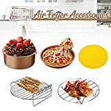 "9"" Golden Air Fryer Accessories, 5Pcs Cake Barrel Pizza Pot Metal Bracket Grill"