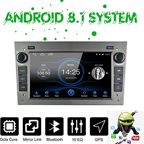 EZoneTronics Android 8.1 Radio de Coche Estéreo Apto para Opel Vauxhall Corsa Astra 4GB RAM 32G ROM Octa Core Indash 7 Pantalla Control táctil Am FM RDS GPS BT USB SD Unidad Principal con SWC WiFi