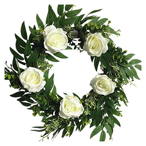 JXHYKJ 18 Inch Flower Wreath White Rose Artificial Floral Silk Door Wreath for Indoors Home Front Door Wall Wedding Decorations