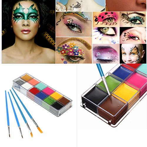 Luckyfine Pinturas Corporales y Cara, Body Paint, Maquillaje Halloween Carnaval Set, 12...