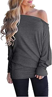 Poetsky Women's Off Shoulder Tops Casual Loose Shirt Batwing Sleeve Tunics Blouse