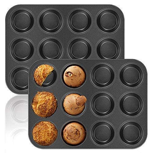 2 Pack Muffin Pan, OAMCEG 12-Cavity Bakeware Non-stick Cupcake Baking Pan Mini Pie Pans Whoopie Pie Pan, Heavy Duty Carbon Steel Muffin Tray Standard Baking Mold Pan for Oven Baking