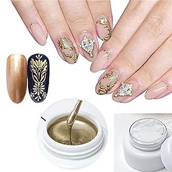 Hacaus 1PCS Metallic Painted Nail Gel Painting Drawing UV Gel Polish DIY Design Creative Gel Polish Dark Gold Color