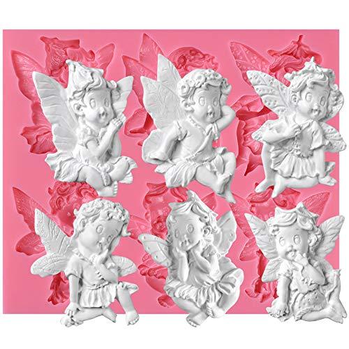musykrafties Mini Jardin Grand 6 Cavités Fée Bébé Ange Moule en Silicone pour Cupcake Gâteaux Décorations Fondant, Savon, Résine, Argiles, Artisanat