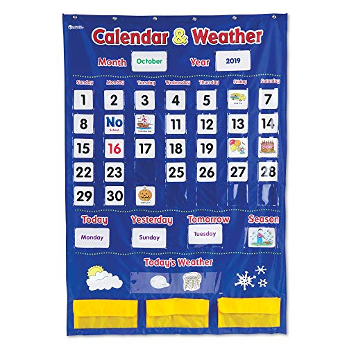 Learning Resources Calendar & Weather Pocket Chart, Classroom Organization, Homeschool Supplies, School & Classroom Supplies, 136 Piece,Multi-color,30 3/4' x 44 1/4', Ages 3+
