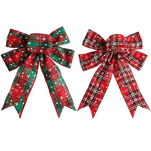 Arcos de Cinta de Navidad Lazos de Navidad Lazo Rojo Cinta Arcos de Navidad con Purpurina Lazos de Cinta de Navidad Mini Arcos de Árbol para Decoración de Casa Regalos Colgantes Navideños(2 Piezas)