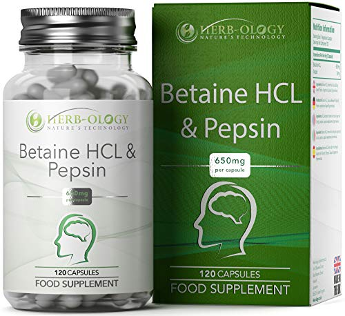 Herb-ology Betaine HCL + Pepsin Capsules - Natural Hydrochloric Supplement Support for Digestive Health - Diet Aid Promoting Balanced Acid, Bloating & Indigestion Relief - 650mg, 120 Vegan Capsules