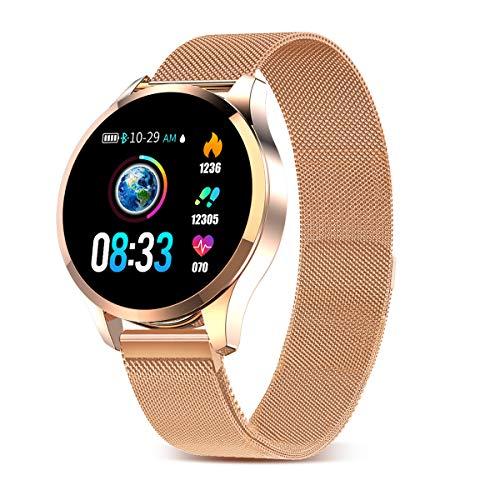 Smartwatch Mujer Hombre Impermeable Reloj Inteligente Monitores de Actividad Impermeable IP67 con Monitor de Sueño Pulsómetros Cuenta de Pasos Contador de Caloría Compatible con iOS Android (Gold Ⅰ)