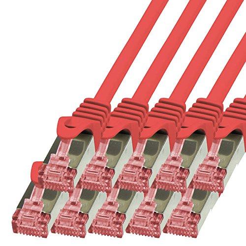 BIGtec - 10 Stück - 1,5m Netzwerkkabel Patchkabel Ethernet LAN DSL Patch Kabel Gigabit rot (2X RJ-45 Anschluß, CAT6, doppelt geschirmt) 1,5 Meter