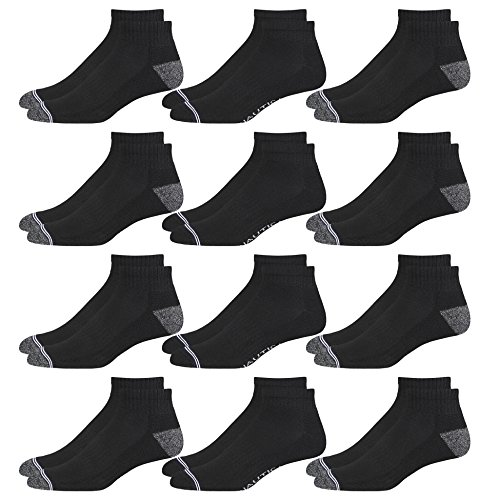 Nautica Mens Moisture Control 12PK Athletic Quarter Socks Black/Grey Toe Shoe Size: 6-12.5