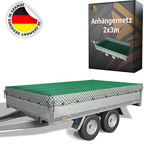TIMELEOS Anhängernetz 2x3m, Netz für Anhänger, Containernetz, Ladungssicherungsnetz, Transportnetz, Kofferraum, Auto, Gepäcknetz, feinmaschig, PKW (grün)