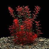 Grandes plantas de acuario de plástico artificial plantas de tanque de peces decoración ornamento seguro para todos los peces 12 (30 cm) pulgadas de alto 4 (10 cm) pulgadas de ancho - rojo