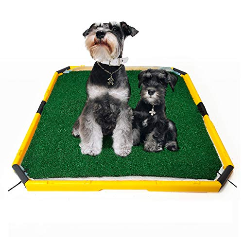 HUILE Artificial Grass for Dogs Pee Pads-Artificial Grass Bathroom Mat-Portable Potty Trainer for Indoor and Outdoor Use (21 in x 21 in)