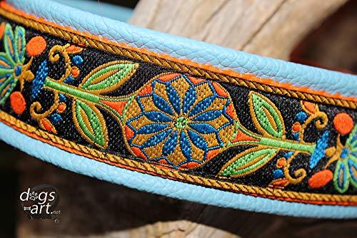 Hundehalsband Leder Hellblau Orange Blumen Pinwheel Zinnia Click Lock Sicherheitsverschluss USA Borte Webband