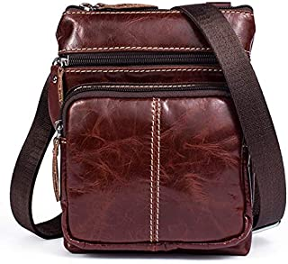 YXHM AU Men's Business Genuine Leather Bag Large-Capacity Male Handbag Shoulder Bag (Color : Red)