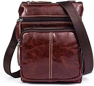 YXHM AU Men's Business Genuine Leather Bag Large-Capacity Male Handbag Shoulder Bag (Color : Red)