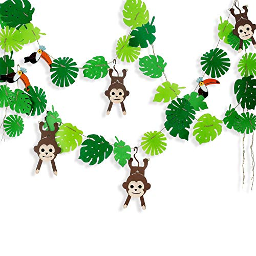 Tropical Palm Monkey Leaves Banner for Jungle Party Decorations , Summer Beach Safari Animal Party Supplies, Leaves and Animals Garland for Hawaiian Luau Party Decor Felt Wall Hanging Banner