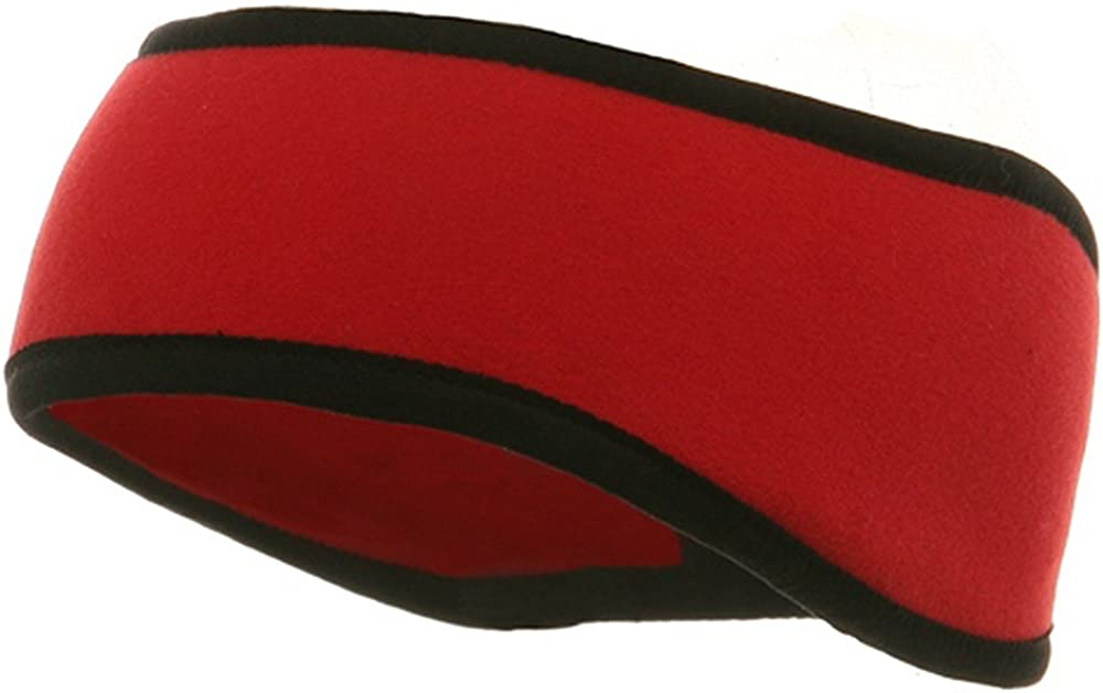 Reversible Fleece Headband-Red Black
