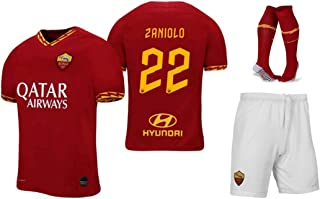 Zaniolo #22 2019-2020 AS Roma Kids/Youths Home Soccer Jersey/Short/Socks Colour Red