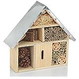 com-four® Hotel per Insetti in Legno - Hotel per api per Insetti Volanti, Coccinelle, Farfalle e Mosche - Casa degli Insetti da Appendere (01 Pezzo - 29x28x8cm)