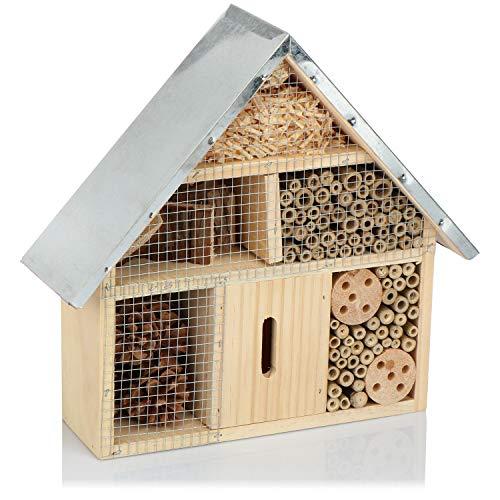com-four® Insektenhotel aus Holz - Bienenhotel für Fluginsekten, Marienkäfer, Schmetterlinge und Fliegen - Insektenhaus zum Aufhängen (01 Stück - 29x28x8cm)