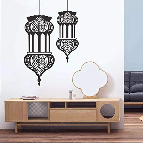 WERWN Calcomanas de Pared islmicas calcomanas de Vinilo Musulmanas Estilo rabe Linterna Mural Artista hogar Sala de Estar Dormitorio decoracin Mezquita
