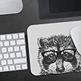 Raccoon Mousepad, Hipster Nerdy Animal Mouse Pad, Racoon Gift Mousepads, Funny Laptop Office Desk Accessories, Coworker Gifts