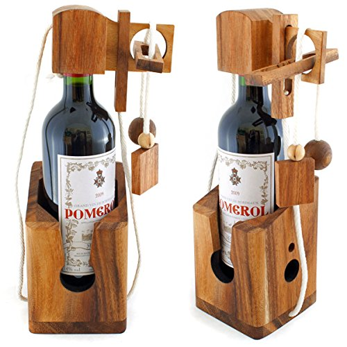 GOODS+GADGETS Dont Break The Bottle Flaschen-Tresor Safe Geduldsspiel Puzzle aus Holz