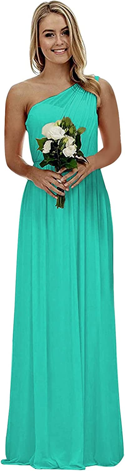 One Shoulder Bridesmaid Dresses Chiffon Long Formal Pleated Wedding Party Gowns for Women