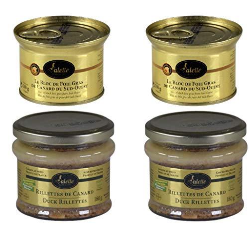 Entenleber-Probierpaket mit 2x Block Entenleber und 2x Rillette pur Canard. Geschützte Herkunft aus dem Perigord. Frankreich IGP Sud-Ouest