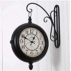 Clock Wall Double-Sided Wall Old Fashioned Antique Hook Wrought Iron Retro Decoration Home Decoration Restaurant Quartz Home Samantha (Color : Default)