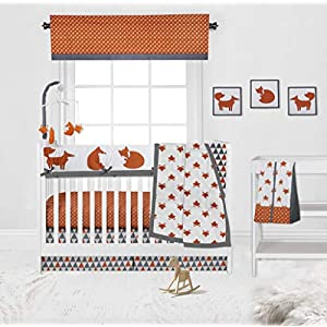 Bacati Playful Fox 10-Piece Nursery-in-A-Bag Crib Bedding Set with Long Rail Guard, Orange/Grey