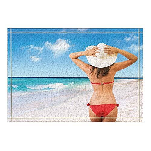 Ottbrn Bella Dames Bikini Rood badmat badmat antislip ingang voetmat vooraan binnen buiten badmat kinderen 15,7 x 23,6 inch