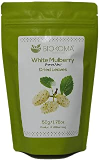 100% Pure and Organic Biokoma White Mulberry Dried Leaves 50g (1.76oz) in Resealable Moisture Proof Pouch