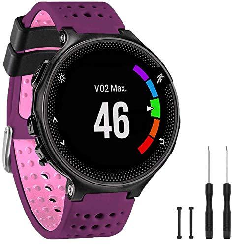 GVangel Correa compatible con Garmin Forerunner 235, correa de repuesto de silicona suave para reloj inteligente 220/230/235/620/630/735XT/235 Lite para mujeres y hombres (púrpura-rosa)